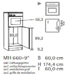 Hogekast 60 x 174cm voor inbouw oven 60x60cm hoog  TL606APL-9