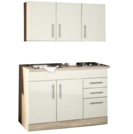 Keukenblok 120 cm x 60 cm Incl. RVS spoelbak + electrische kookplaat + bovenkasten