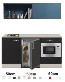 Keukenblok 160 Antraciet incl rvs spoelbak en koelkast en magnetron en wandkast RAI-4141