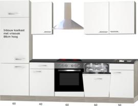 Rechte keuken Torger 270 cm semi-glanzend wit incl. Ingebouwde apparaten en vaatwasser RAI-946