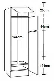Hogekast 60 x 206,8cm voor inbouw koelkast 144cm hoog
