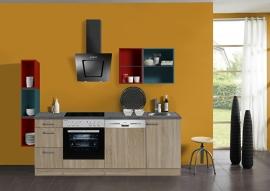 Keuken 220 cm met gekleurd wandrek Incl. keramisch kookveld + oven vaatwasser, afzuigkap en rvs spoelbak KT221E-9-1042