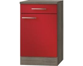 Keukenblok met een La  Imola signaal rood satijn (BxHxD) 50,0x84,8x60,0 cm HRG-195