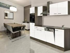 Keuken 280 cm incl oven, inductie kookplaat, vaatwasser, afzuigkap, koelkast en spoelbak HUS-1368