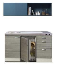 Kitchenette 150 cm met blauw schuif rek met rvs aanrechtblad, keramisch kookplaat en rvs spoelbak RAI-5252