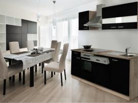 Keuken zwart hoogglans 220cm Incl. Inbouwapparatuur HUS-1098