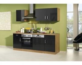 Keuken zwart hoogglans 220cm lang Incl. Inbouwapparatuur RAI-1290
