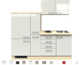Kitchenette Abaco Nacre glanzend 190 cm Incl. koelkast, kookplaat en apothekerskast HRG-1729