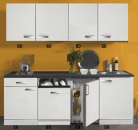 Kitchenette 220 cm wit hoogglans met vaatwasser en koelkast en kookplaat RAI-4534