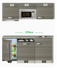 Kitchenette 170 met onderbouw koelkast, vaatwasser, combi magnetron en afzuigkap RAI-586