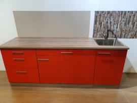Showmodel keukenblok Rood glans 210 cm