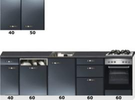 Rechte keuken 280cm antraciet metalic incl vaatwasser, oven en gaskookplaat RAI-089