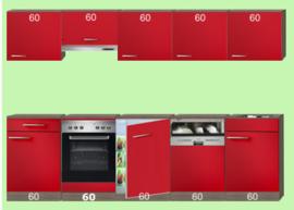 Rechte keuken 300cm rood hoogglans  Incl. Apparatuur RAI-762