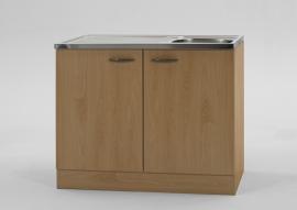 Keukenblok Beuken met RVS aanrecht 100cm x 60cm OPTI-68