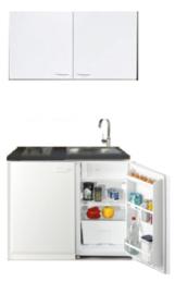 Kitchenette 100cm wit mat met koelkast en kookplaat RAI-153