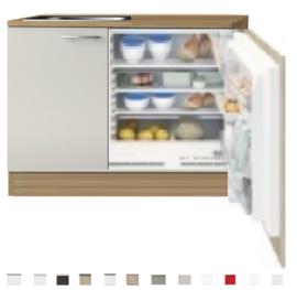 Kitchenette 110cm wit-beuken incl inbouw koelkast RAI-1045