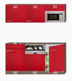 Kitchenette 180cm incl inbouw koelkast en combi magnetron en vaatwasser RAI-3030