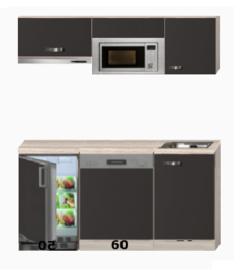 Keukenblok 150 cm incl kookplaat, afzuigkap vaatwasser en koelkast RAI-049