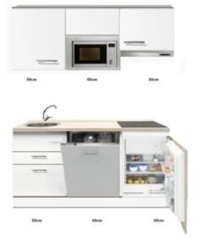 kitchenette 180cm incl vaatwasser,combi magnetron kookplaat en inbouw koelkast RAI-880