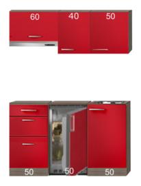 Kitchenette Imola Rood 150 cm Inc. Inbouwapapratuur HRG-4389