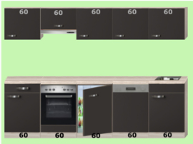 Keuken Sienna Créme Excl. Apparatuur 300cm lang RAI-762