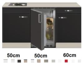 Keukenblok 160 Antraciet incl rvs spoelbak en koelkast RAI-44923