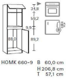 Hoge kast 206cm hoog  HOMK660-9