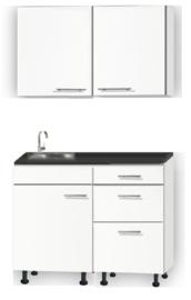 Kitchenette 110cm wit zijdeglans met drie laden op stelpoten incl plinten en wandkasten RAI-114