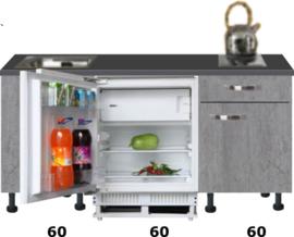 kitchenette 180 cm beton look met inbouw koelkast RAI-2002