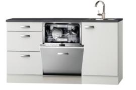 Keukenblok Wit Hoogglans 160 cm incl vaatwasser en rvs spoelbak RAI-452