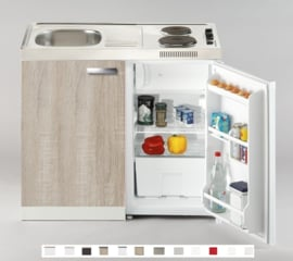 Keukenblok Padua 100 x 60 cm met koelkast, e-kookplaat en RVS blad RAI-2666
