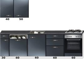 Rechte keuken 270cm antraciet metalic incl vaatwasser, oven en gaskookplaat RAI-099