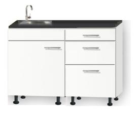Kitchenette 110cm wit zijdeglans met een la op stelpoten incl plinten RAI-113
