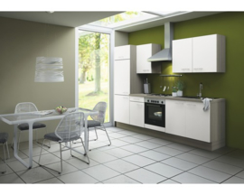 Rechte keuken Torger 270 cm semi-glanzend wit incl. Ingebouwde apparaten RAI-945