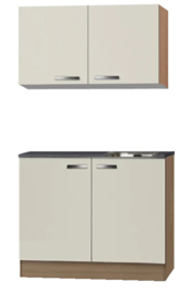 Keukenblok cream 100cm x 60cm met houten werkblad en wandkasten OPTI-950