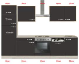 Keuken 280cm incl oven, electrisch kookplaat, vaatwasser, afzuigkap, koelkast 144cm en spoelbak RAI-0021