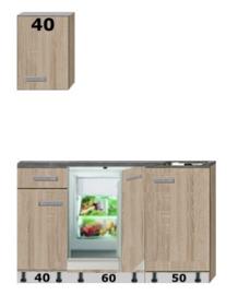 Kitchenette 150cm met stelpoten incl inbouw koelkast RAI-0039