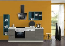Keuken 220 cm met gekleurd wandrek Incl. Inbouwapparatuur  KT241E-9-1052