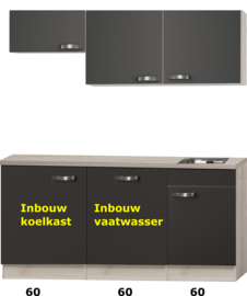 kitchenette 180cm incl vaatwasser en inbouw koelkast RAI-915