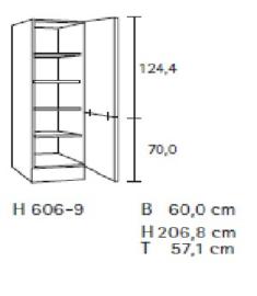 Hoge servieskast 60 x 174 cm hoog MH606-9