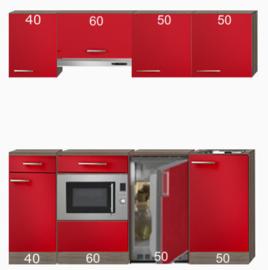 Rechte keuken incl. combimagnetron, onderbouw koelkast en Afzuigkap RAI-8458