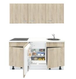 3-in-1 Keukenblok 180 x 60 cm met stelpoten incl. kookplaat + koelkast + spoelbak RAI-855