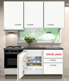 Keukenblok 180cm wit hoogglans incl gas-kookplaat, inbouwkoelkast, afzuigkap en combi magnetron RAI-2459