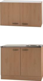 Keukenblok klassiek 50 met spoelbak en bovenkast Beuken 50cm x 100cm OPTI-4103