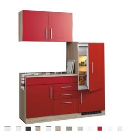 Kitchenette Toronto Rood 160cm Incl. koelkast, e-kookplaat en spoelbak HRG-649