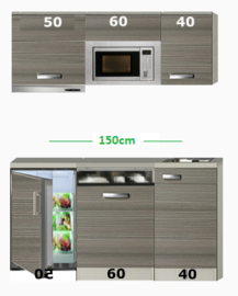 Kitchenette 150 met onderbouw koelkast, vaatwasser, combi magnetron en afzuigkap RAI-585