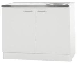 Keukenblok Wit met RVS aanrecht 100cm x 60cm OPTI-64