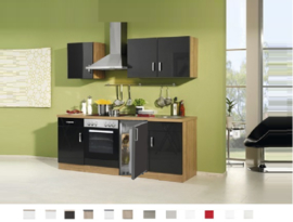 Keuken Atlanta Antraciet 210 cm Incl. oven,4-pit kookplaat en koelkast HRG-9970