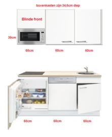 Keukenblok wit hoogglans 180 cm incl koelkast, kookplaat en afzuigkap RAI-5421