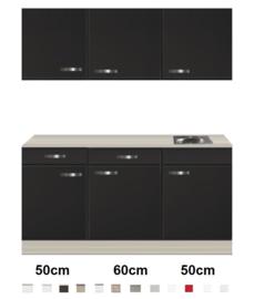Keukenblok 160 Antraciet met wandkasten incl rvs spoelbak RAI-4493